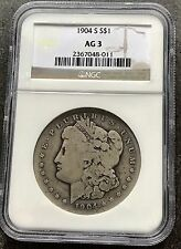 USA 1904 S Morgan DOLLARO NGC ag3 Argento San Francisco RARE graded 4262