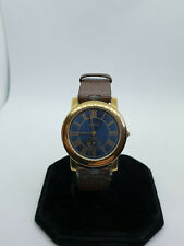 mens vintage alfex gold tone dress watch,blue face,roman-numerals,brown strap.bm