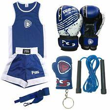 Kids Boxing Uniform Blue Set 5 Pcs + Boxing Gloves + Wrap 1004