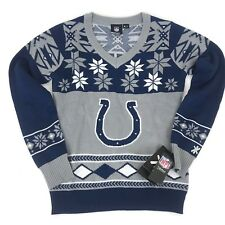 NEW Indianapolis Colts NFL Sweater V Neck Navy Blue Snowflake Women's Size S L