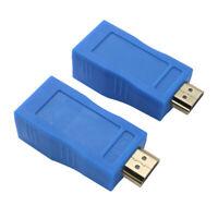 2Pcs 1080P HDMI Extender auf RJ45 über Cat 5e/6 Netzwerk LAN Ethernet Adapter DA