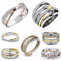 Multi-Styles Two Tone 925 Silver Rings Women White Sapphire Wedding Ring Sz 6-10