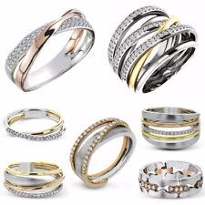 Multi-Styles Two Tone 925 Silver Rings Women White Sapphire Wedding Ring Sz 6-10
