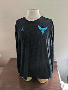 NBA Charlotte Hornets Team Issued Long Sleeve Jordan Nike Black/Teal Size XL