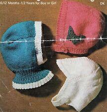 REF114 Bébé Garçons & Filles Bonnet, casque et Balaclava DK VINTAGE KNITTING PATTERN