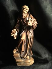 """St Saint Francis Patron of Animals Hand Carved Painted Figurine 7.5"""""""