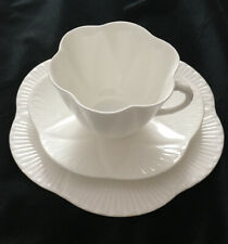 "Shelley Regency Dainty White 3-Pc Set ~ 7"" Salad Plate, Cup & Saucer - PERFECT!"