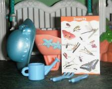 Dollhouse Lot of Gardening Supplies Wheelbarrow, Hat, Water Can,Tools, Poster