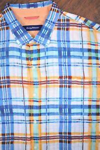 Tommy Bahama Linen LS Button Front Shirt Plaid Men's 3XL