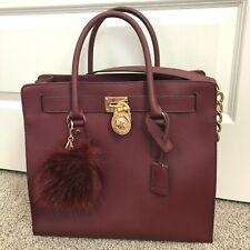 Michael Kors Hamilton Saffiano Leather Burgundy Satchel Handbag Shoulder Purse