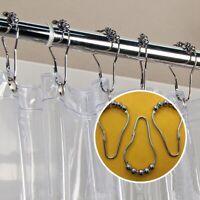 12Pcs Stainless Steel Bathroom Shower Curtain Rail Pol Rod Ball Rings Chris