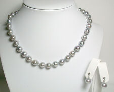 Grey-blue AA++ 8-9mm baroque Akoya saltwater pearl 9ct gold necklace & earrings