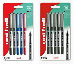 Uni-ball Eye Rollerball Pen Micro 0.5mm, Fine 0.7mm 5 Pack Black, Blue, Assorted