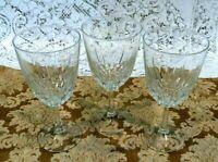 Set of 3 Vintage Crystal Clear Wine Glasses Stemware Goblets