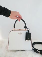 kate spade PEMBREY PLACE VIOLINA Leather white brown mini satchel crossbody bag