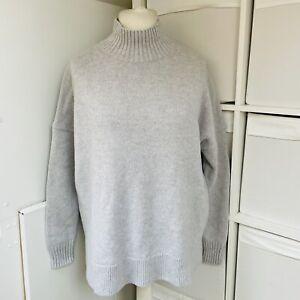 HUSH Pale Grey 100% Wool Jumper Size M Chunky Knit High Neck Oversized