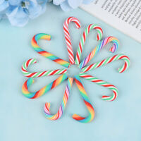 10PCS Rainbow Stripe Fimo Clay Christmas Cane Candy Party Embellishments Decor