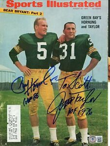 PAUL HORNUNG & JIM TAYLOR GB PACKERS DECEASED SPORTS ILLUSTRATED SIGNED BECKETT