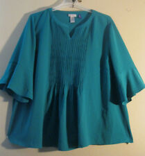 Catherines 4X 3X 26 28 Blouse Aqua         CLASSY PIN TUCKS AND RUFFLED SLEEVES!