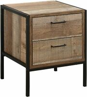 Birlea Urban 2 Drawer Bedside Table Wood Rustic industrial 50cm High brown black