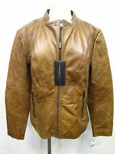 Andrew Marc Women's XL Nutmeg Brown Moto Molly Leather Jacket MSRP $420 H182