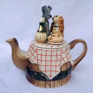 Disney Character Ceramic Teapot Vintage Lady and the Tramp Carew Design RARE