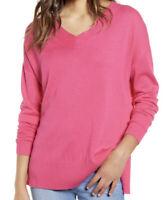 NWT Chelsea28 Women's V-Neck Pullover Sweater Fuchsia Size L