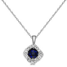 Women's Diamond with Created Sapphire Necklace Pendant in SOLID 10k White Gold