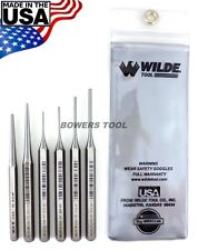 Wilde Tool 6pc Gunsmith Punch Set MADE IN USA Pin Center Solid w Case Gun Smith