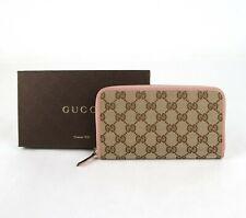 Gucci Beige Original GG Canvas Pink Leather Trim Zip Around Wallet 363423 8609