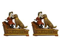Antique Vintage Style Cast Iron Mechanical Speaking Dog Money Bank 2 Pc