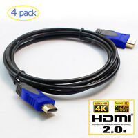 [4-Pack] 3FT 6FT Gold Plated HDMI 2.0 Cable 4K HD 2160P@60HZ For Samsung Sony TV