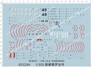 1/350 USS Navy DESTROYER SPRUANCE-CLASS Ticonderoga Model Kit Water Decal 3-A