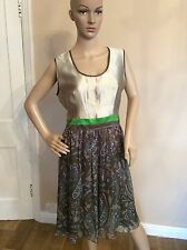 ETRO dress Size 44 Uk 10 Green Flowers Floral Women's Ladies Fitted 65% Silk