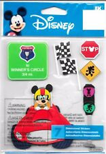 New listing Walt Disney 7 Embossed Stickers Mickey Mouse Mick Racers Racing Signs Flags