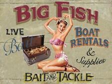 Big Fish Boat Rentals Fishing Water Pin Up Metal Sign