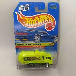 1998 Hot Wheels Biohazard Series Recycling Truck Neon Yellow #719