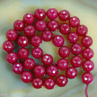Natural 8mm Faceted Ruby Jade Round Gems Loose Beads 15'' Strand
