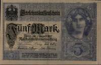 1917 Germany 5 Mark Banknote Uncirculated