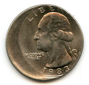 Genuine 1983 Washington 25 Cent Quarter   Off Center Error