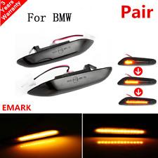 2xDynamic LED Side Marker Smoked Turn Signal For BMW E90 E91 E92 E60 E87 E82 New