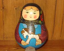 Russian Wobbly Doll with Bell MATRYOSHKA GIRL & Wooden Horse RYABOVA