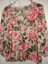 ANN TAYLOR LOFT Petite Floral 3/4 Sleeve Tunic Top Blouse Size MP