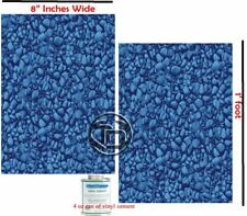 """(2) 8"""" Inch x 1 Ft W/ Glue River Rock Blue Vinyl Liner Swimming Pool Patch Kit"""