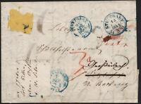 ✔️ 1853. GERMANY OLD RARE DOCUMENT LETTER COVER VORPHILA STUTTGART TO BACKNANG