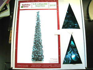 HOLIDAY TIME 5 ft BLUE/TEAL COLLAPSIBLE CHRISTMAS HOLIDAY TREE W/STAND & BOX