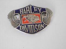 BELT BUCKLE HARLEY DAVIDSON EAGLE WINGS H-524 1987 SILVER TONE BRASS RED, BLACK