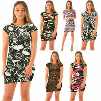 WOMENS LADIES SHORT SLEEVE PRINTED BODYCON  STRETCH MINI DRESS TOPS 8-22
