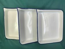 Lot of 3 Xl 17x14 porcelain steel Enamel Photographic Developing Trays Antique