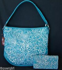 Rustic Couture Turquoise Handbag w/FREE Matching Wallet